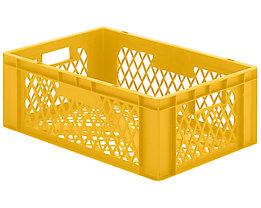 Euro-Format-Stapelbehälter, Wände und Boden durchbrochen - LxBxH 600 x 400 x 210 mm - gelb, VE 5 Stk