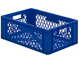 Euro-Format-Stapelbehälter, Wände und Boden durchbrochen - LxBxH 600 x 400 x 210 mm - blau, VE 5 Stk
