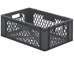 Euro-Format-Stapelbehälter, Wände und Boden durchbrochen - LxBxH 600 x 400 x 210 mm - grau, VE 5 Stk