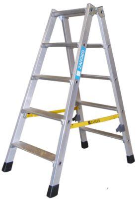 ZARGES Stufen-Stehleiter aus Alu, beidseitig begehbar - Stahlscharniere robust