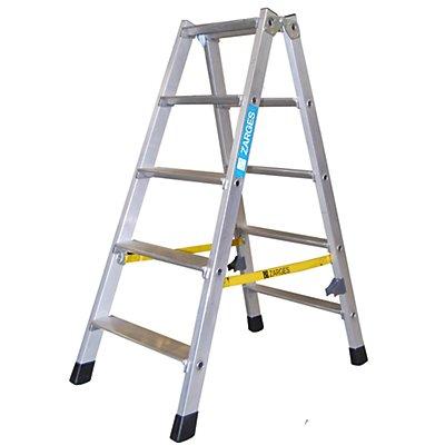 zarges stufen stehleiter aus alu beidseitig begehbar stahlscharniere robust 2 x 3 stufen. Black Bedroom Furniture Sets. Home Design Ideas