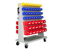 VIPA Sichtlagerkasten-Set - für Fahrregal HxBxT 1410 x 1053 x 600 mm - 48 x blau (1 l) + 16 x gelb (1 l) + 36 x rot (4,5 l)