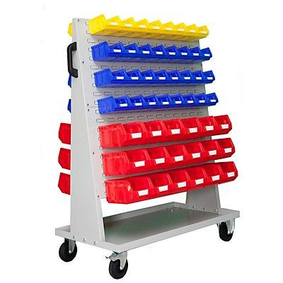 VIPA Sichtlagerkasten-Set - für Fahrregal HxBxT 1410 x 1053 x 600 mm - 16 x blau (0,4 l) + 48 x gelb (1 l) + 36 x rot (4,5 l)