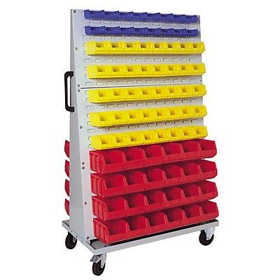 VIPA Sichtlagerkasten-Set - für Fahrregal HxBxT 1700 x 1053 x 600 mm - 48 x blau (1 l) + 48 x rot (1 l) + 38 x blau (4,5 l) + 10 x gelb (4,5 l)