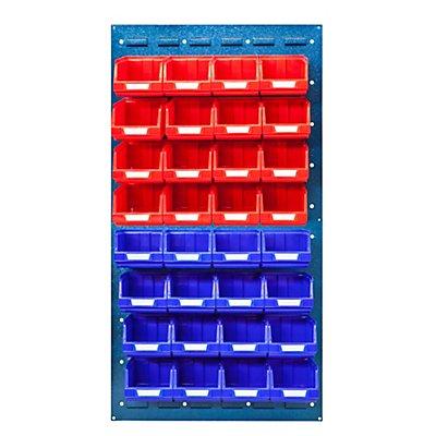 VIPA Sichtlagerkasten-Set - ohne Wandpaneel, für 2 Paneele mit HxB 480 x 500 mm - 16 x rot (0,4 l) + 16 x gelb (0,4 l)