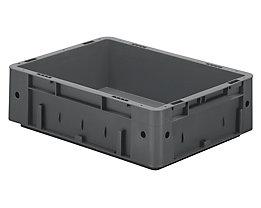 Schwerlast-Euro-Behälter, Polypropylen - Inhalt 9,2 l, LxBxH 400 x 300 x 120 mm, Wände geschlossen - Boden geschlossen, grau, VE 4 Stk
