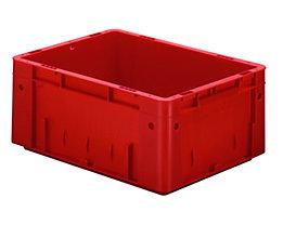 Schwerlast-Euro-Behälter, Polypropylen - Inhalt 14,5 l, LxBxH 400 x 300 x 175 mm, Wände geschlossen - Boden geschlossen, rot, VE 4 Stk