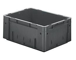 Schwerlast-Euro-Behälter, Polypropylen - Inhalt 14,5 l, LxBxH 400 x 300 x 175 mm, Wände geschlossen - Boden geschlossen, grau, VE 4 Stk