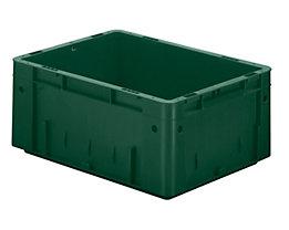 Schwerlast-Euro-Behälter, Polypropylen - Inhalt 14,5 l, LxBxH 400 x 300 x 175 mm, Wände geschlossen - Boden geschlossen, grün, VE 4 Stk