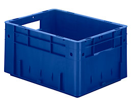 Schwerlast-Euro-Behälter, Polypropylen - Inhalt 17,5 l, LxBxH 400 x 300 x 210 mm, Wände geschlossen - Boden geschlossen, blau, VE 4 Stk