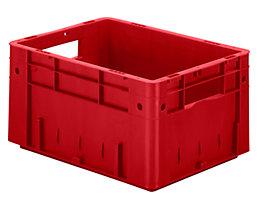 Schwerlast-Euro-Behälter, Polypropylen - Inhalt 17,5 l, LxBxH 400 x 300 x 210 mm, Wände geschlossen - Boden geschlossen, rot, VE 4 Stk