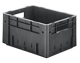Schwerlast-Euro-Behälter, Polypropylen - Inhalt 17,5 l, LxBxH 400 x 300 x 210 mm, Wände geschlossen - Boden geschlossen, grau, VE 4 Stk