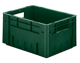 Schwerlast-Euro-Behälter, Polypropylen - Inhalt 17,5 l, LxBxH 400 x 300 x 210 mm, Wände geschlossen - Boden geschlossen, grün, VE 4 Stk