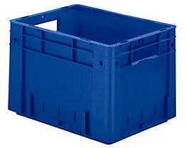 Schwerlast-Euro-Behälter, Polypropylen - Inhalt 23,3 l, LxBxH 400 x 300 x 270 mm, Wände geschlossen - Boden geschlossen, blau, VE 4 Stk