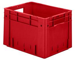 Schwerlast-Euro-Behälter, Polypropylen - Inhalt 23,3 l, LxBxH 400 x 300 x 270 mm, Wände geschlossen - Boden geschlossen, rot, VE 4 Stk