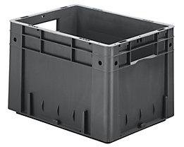 Schwerlast-Euro-Behälter, Polypropylen - Inhalt 23,3 l, LxBxH 400 x 300 x 270 mm, Wände geschlossen - Boden geschlossen, grau, VE 4 Stk