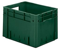 Schwerlast-Euro-Behälter, Polypropylen - Inhalt 23,3 l, LxBxH 400 x 300 x 270 mm, Wände geschlossen - Boden geschlossen, grün, VE 4 Stk