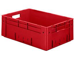 Schwerlast-Euro-Behälter, Polypropylen - Inhalt 38 l, LxBxH 600 x 400 x 210 mm, Wände geschlossen - Boden geschlossen, rot, VE 2 Stk