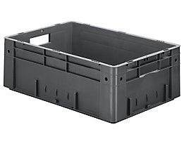 Schwerlast-Euro-Behälter, Polypropylen - Inhalt 38 l, LxBxH 600 x 400 x 210 mm, Wände geschlossen - Boden geschlossen, grau, VE 2 Stk