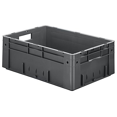 Schwerlast-Euro-Behälter, Polypropylen - Inhalt 38 l, LxBxH 600 x 400 x 210 mm, Wände geschlossen