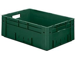 Schwerlast-Euro-Behälter, Polypropylen - Inhalt 38 l, LxBxH 600 x 400 x 210 mm, Wände geschlossen - Boden geschlossen, grün, VE 2 Stk