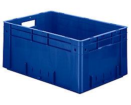 Schwerlast-Euro-Behälter, Polypropylen - Inhalt 50 l, LxBxH 600 x 400 x 270 mm, Wände geschlossen - Boden geschlossen, blau, VE 2 Stk