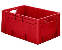 Schwerlast-Euro-Behälter, Polypropylen - Inhalt 50 l, LxBxH 600 x 400 x 270 mm, Wände geschlossen - Boden geschlossen, rot, VE 2 Stk