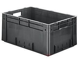 Schwerlast-Euro-Behälter, Polypropylen - Inhalt 50 l, LxBxH 600 x 400 x 270 mm, Wände geschlossen - Boden geschlossen, grau, VE 2 Stk