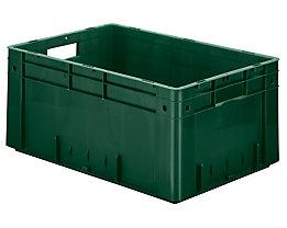 Schwerlast-Euro-Behälter, Polypropylen - Inhalt 50 l, LxBxH 600 x 400 x 270 mm, Wände geschlossen - Boden geschlossen, grün, VE 2 Stk