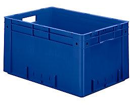 Schwerlast-Euro-Behälter, Polypropylen - Inhalt 60 l, LxBxH 600 x 400 x 320 mm, Wände geschlossen - Boden geschlossen, blau, VE 2 Stk