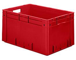 Schwerlast-Euro-Behälter, Polypropylen - Inhalt 60 l, LxBxH 600 x 400 x 320 mm, Wände geschlossen - Boden geschlossen, rot, VE 2 Stk