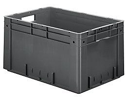 Schwerlast-Euro-Behälter, Polypropylen - Inhalt 60 l, LxBxH 600 x 400 x 320 mm, Wände geschlossen - Boden geschlossen, grau, VE 2 Stk