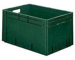 Schwerlast-Euro-Behälter, Polypropylen - Inhalt 60 l, LxBxH 600 x 400 x 320 mm, Wände geschlossen - Boden geschlossen, grün, VE 2 Stk