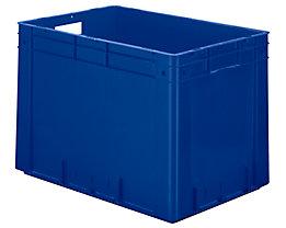 Schwerlast-Euro-Behälter, Polypropylen - Inhalt 80 l, LxBxH 600 x 400 x 420 mm, Wände geschlossen - Boden geschlossen, blau, VE 2 Stk