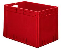 Schwerlast-Euro-Behälter, Polypropylen - Inhalt 80 l, LxBxH 600 x 400 x 420 mm, Wände geschlossen - Boden geschlossen, rot, VE 2 Stk
