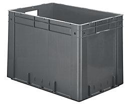 Schwerlast-Euro-Behälter, Polypropylen - Inhalt 80 l, LxBxH 600 x 400 x 420 mm, Wände geschlossen - Boden geschlossen, grau, VE 2 Stk