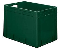Schwerlast-Euro-Behälter, Polypropylen - Inhalt 80 l, LxBxH 600 x 400 x 420 mm, Wände geschlossen - Boden geschlossen, grün, VE 2 Stk