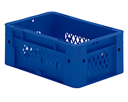 Schwerlast-Euro-Behälter, Polypropylen - Inhalt 4,1 l, LxBxH 300 x 200 x 120 mm, Wände durchbrochen - Boden geschlossen, blau, VE 8 Stk