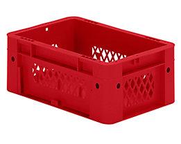 Schwerlast-Euro-Behälter, Polypropylen - Inhalt 4,1 l, LxBxH 300 x 200 x 120 mm, Wände durchbrochen - Boden geschlossen, rot, VE 8 Stk