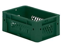 Schwerlast-Euro-Behälter, Polypropylen - Inhalt 4,1 l, LxBxH 300 x 200 x 120 mm, Wände durchbrochen - Boden geschlossen, grün, VE 8 Stk