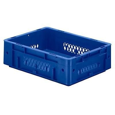 Schwerlast-Euro-Behälter, Polypropylen - Inhalt 9,2 l, LxBxH 400 x 300 x 120 mm, Wände durchbrochen - Boden geschlossen, blau, VE 4 Stk