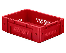 Schwerlast-Euro-Behälter, Polypropylen - Inhalt 9,2 l, LxBxH 400 x 300 x 120 mm, Wände durchbrochen - Boden geschlossen, rot, VE 4 Stk