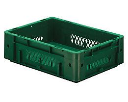 Schwerlast-Euro-Behälter, Polypropylen - Inhalt 9,2 l, LxBxH 400 x 300 x 120 mm, Wände durchbrochen - Boden geschlossen, grün, VE 4 Stk