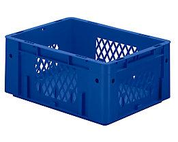 Schwerlast-Euro-Behälter, Polypropylen - Inhalt 14,5 l, LxBxH 400 x 300 x 175 mm, Wände durchbrochen - Boden geschlossen, blau, VE 4 Stk