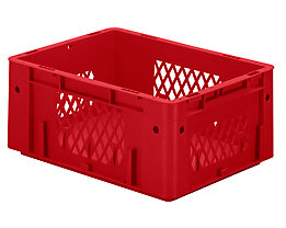 Schwerlast-Euro-Behälter, Polypropylen - Inhalt 14,5 l, LxBxH 400 x 300 x 175 mm, Wände durchbrochen - Boden geschlossen, rot, VE 4 Stk