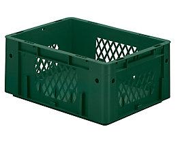 Schwerlast-Euro-Behälter, Polypropylen - Inhalt 14,5 l, LxBxH 400 x 300 x 175 mm, Wände durchbrochen - Boden geschlossen, grün, VE 4 Stk