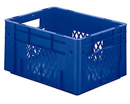 Schwerlast-Euro-Behälter, Polypropylen - Inhalt 17,5 l, LxBxH 400 x 300 x 210 mm, Wände durchbrochen - Boden geschlossen, blau, VE 4 Stk