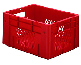 Schwerlast-Euro-Behälter, Polypropylen - Inhalt 17,5 l, LxBxH 400 x 300 x 210 mm, Wände durchbrochen - Boden geschlossen, rot, VE 4 Stk