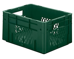 Schwerlast-Euro-Behälter, Polypropylen - Inhalt 17,5 l, LxBxH 400 x 300 x 210 mm, Wände durchbrochen - Boden geschlossen, grün, VE 4 Stk