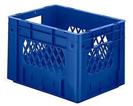 Schwerlast-Euro-Behälter, Polypropylen - Inhalt 23,3 l, LxBxH 400 x 300 x 270 mm, Wände durchbrochen - Boden geschlossen, blau, VE 4 Stk